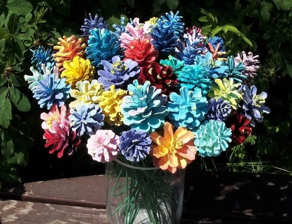 Pine Cone Flowers, ONE DOZEN, The Original. Painted Pine Cones on 12-inch Wood Stems. Bouquet. Gifts for women #pineconeflowers