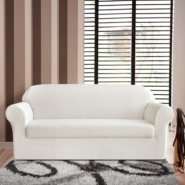 Amazon.com: TIKAMI 2-Piece Jacquard Spandex Couch Covers ...