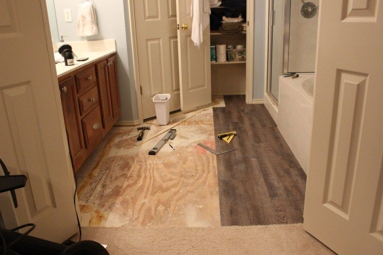 Peel And Stick Vinyl Plank Flooring Diy Sprinkled With Sawdust Plank Flooring Diy Diy Flooring Vinyl Plank Flooring