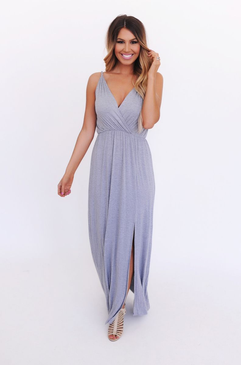 Heather Grey Twisted Strap Maxi - Dottie Couture Boutique