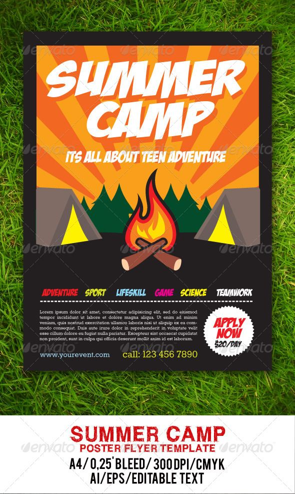 Summer Camp Flyer  Flyer Template Event Flyer Templates And