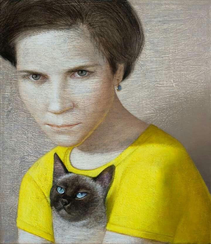 Yellow - amarelo - woman and cat - Vladimir dunjic