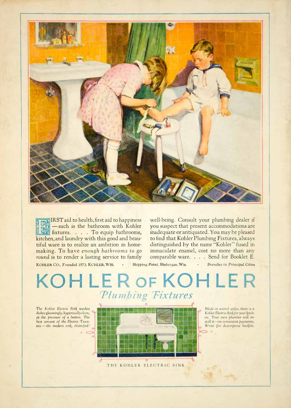 Vintage bathroom ads - 1927 Ad Vintage Bathroom Children First Aid Boy Bathtub Sink Kitchen Dishwasher