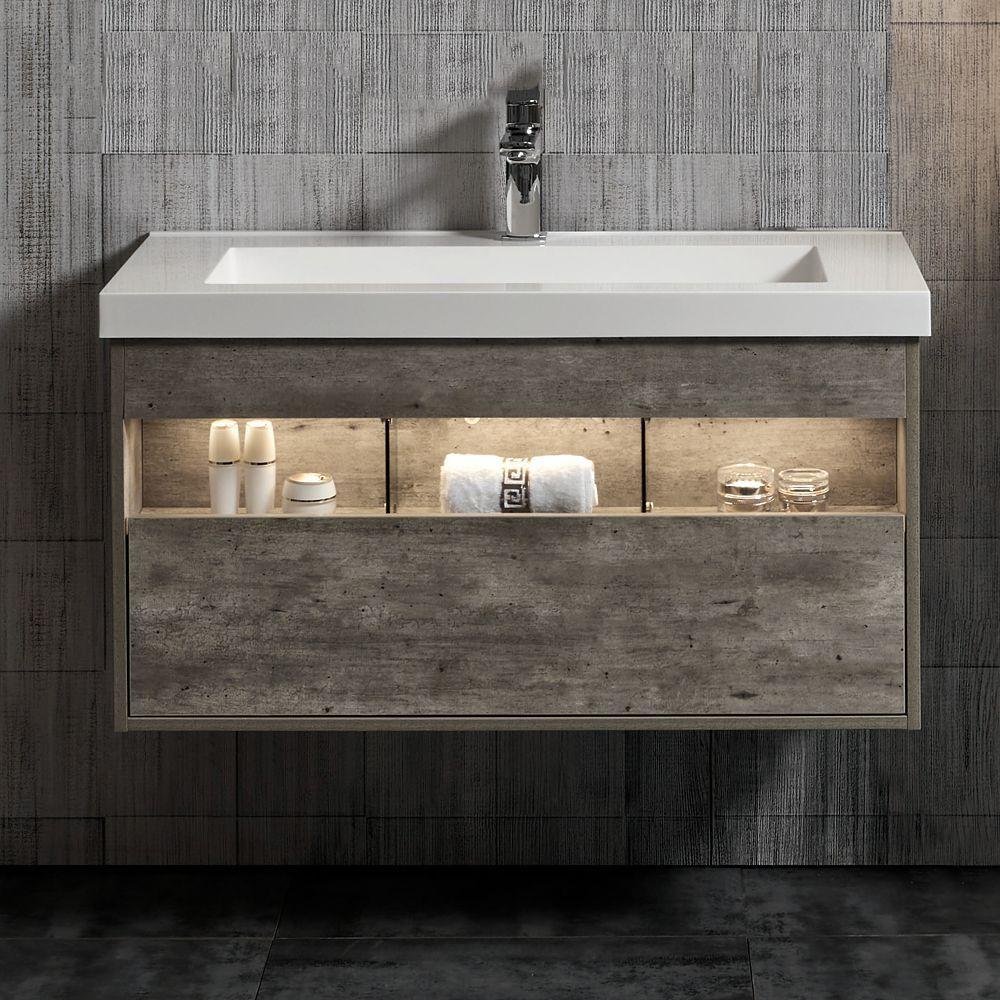 Harlie 40 inch Single Wall Mounted Modern Bathroom Vanity   Double