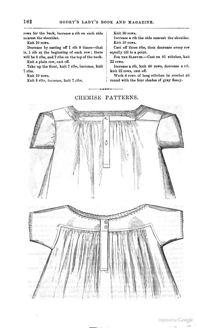 1861 Chemise Pattern Godey S Magazine Google Books
