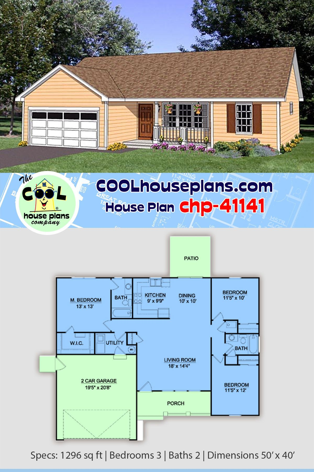 Simple House Plan Affordable Home Floor Plan In A Basic Ranch Design 3 X 2 Floor Plan Simple Ranch House Plans Ranch House Plans House Plans