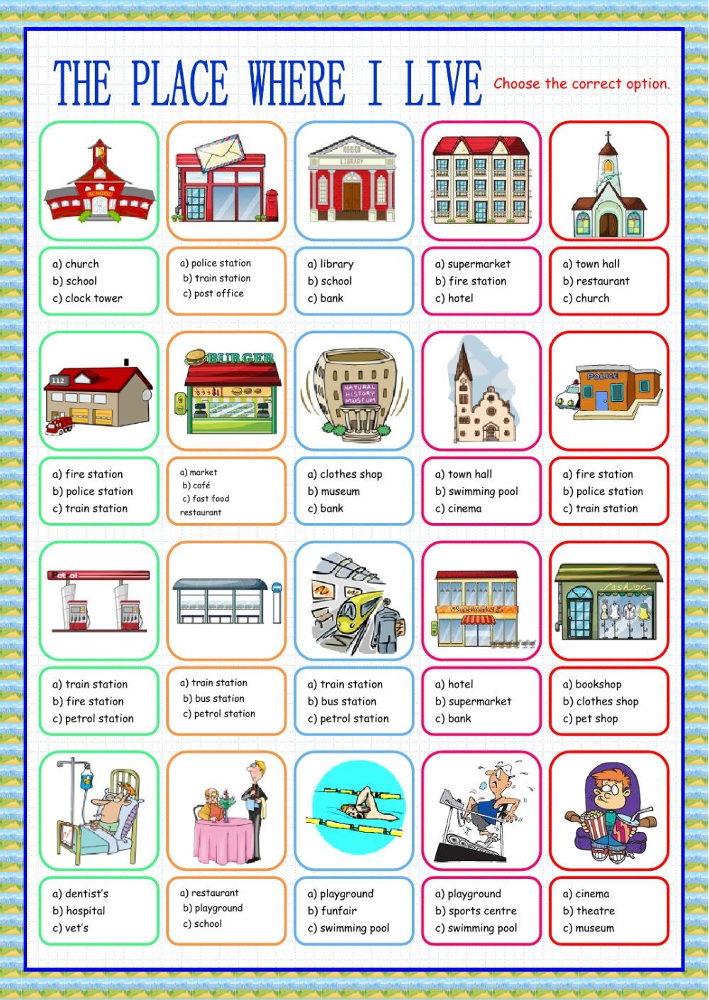Places in the city interactive and downloadable worksheet