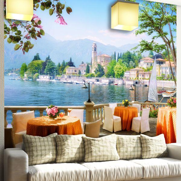 Papier Paint Vinyle Terrasse avec vue sur un lac #papierpeint