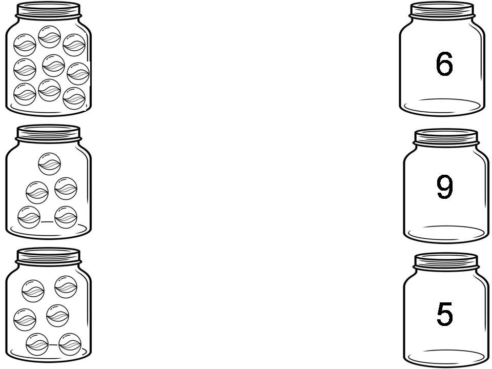 Count the marbles in each jar and draw a line to match the