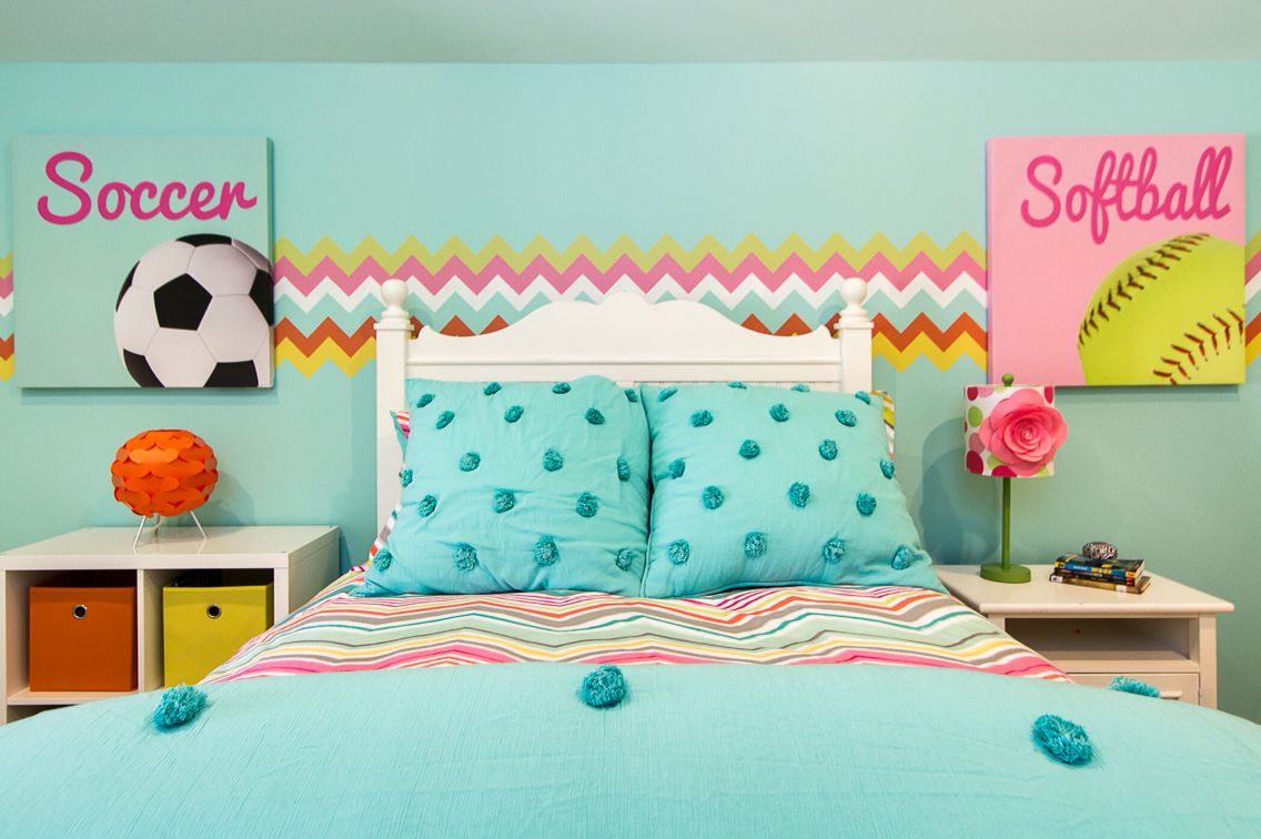 Tween Girl Room Girl Sports Room The Final Results Of Abby S Bedroom Decals Wallsthattalk On Etsy Artwork Tween Girls Room Tween Girl Bedroom Girls Sports Room Softball decorations for bedroom