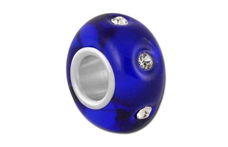 Rhinestone Cobalt Glass Bead - Blue