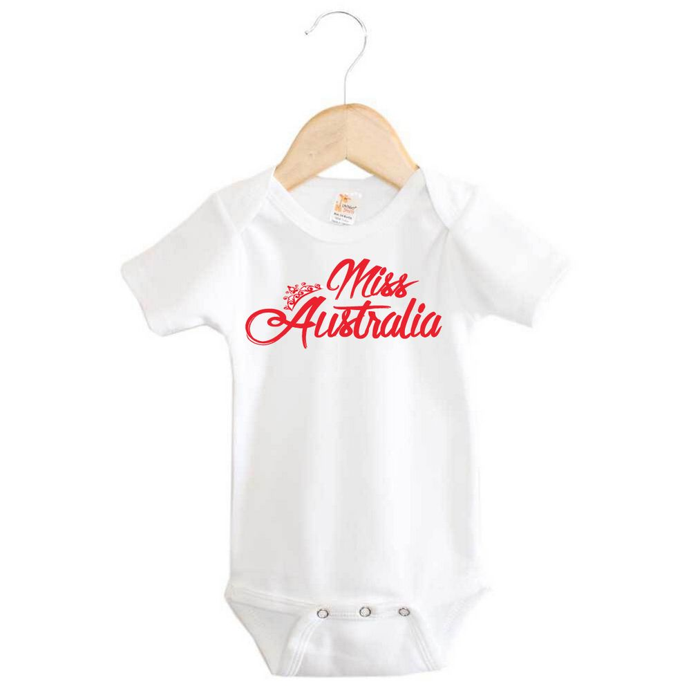 Miss Australia Baby Onesie Custom Printed Clothing Word On