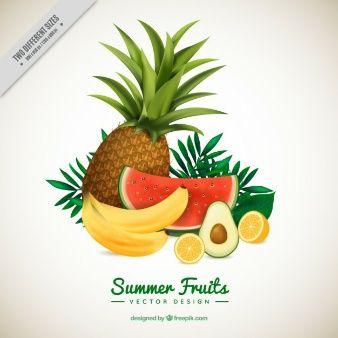 Set of refreshing fruits