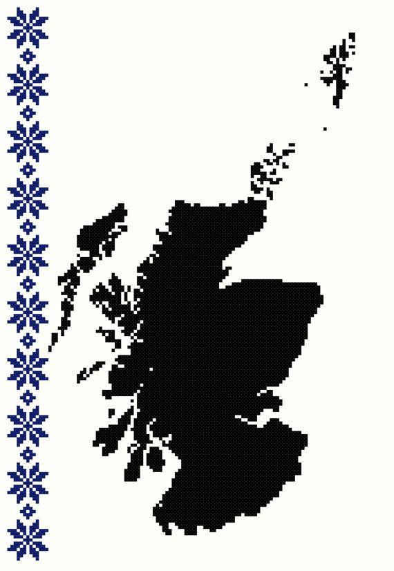 ETSY.com Map Of Scotland With Fair Isle Border [