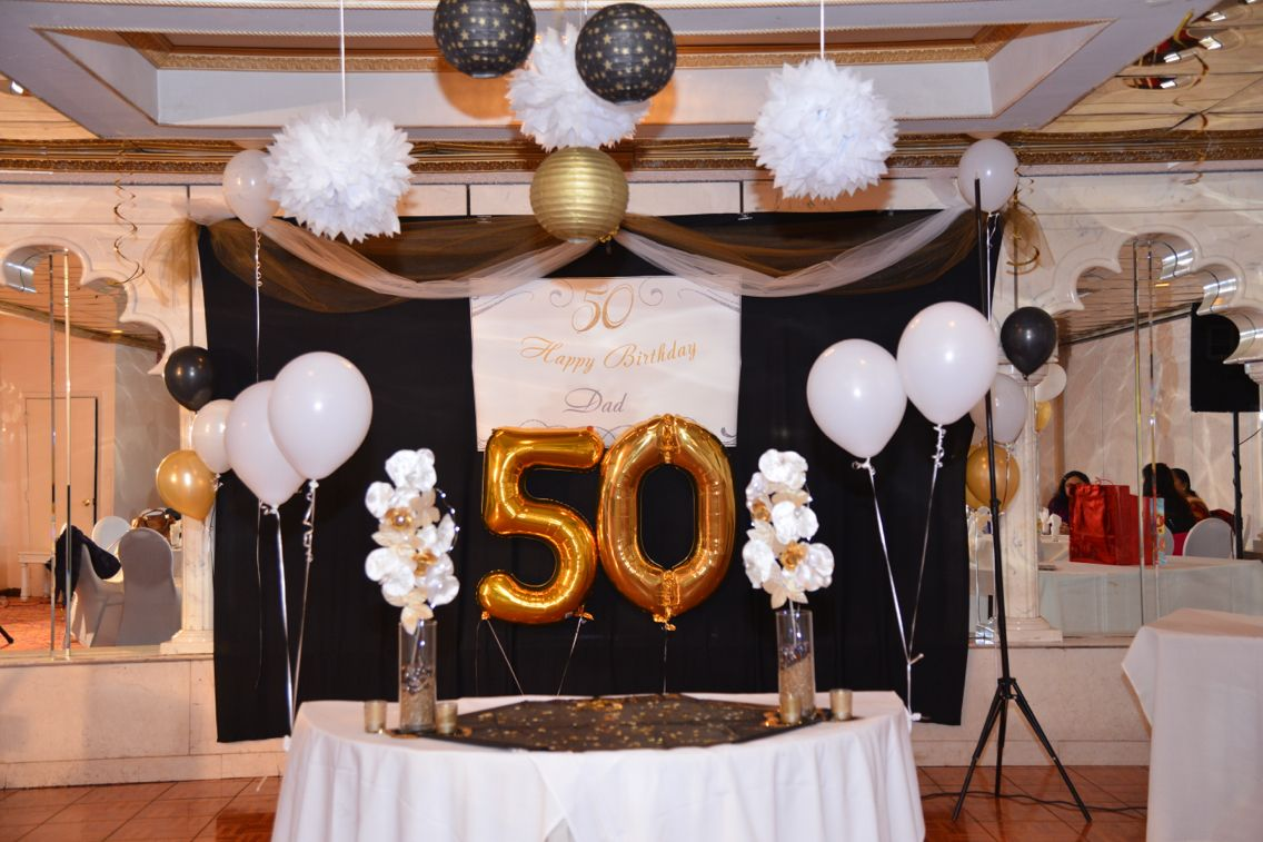 Gold Black And White Color Back Ground Decoration Of 50th Birthday For Dad Black And Gold Theme Black And White Theme Celing Decor