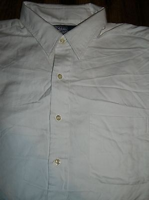 Polo by Ralph Lauren Andrew Size 17 36-37 Long Sleeve White Dress Shirt Pocket