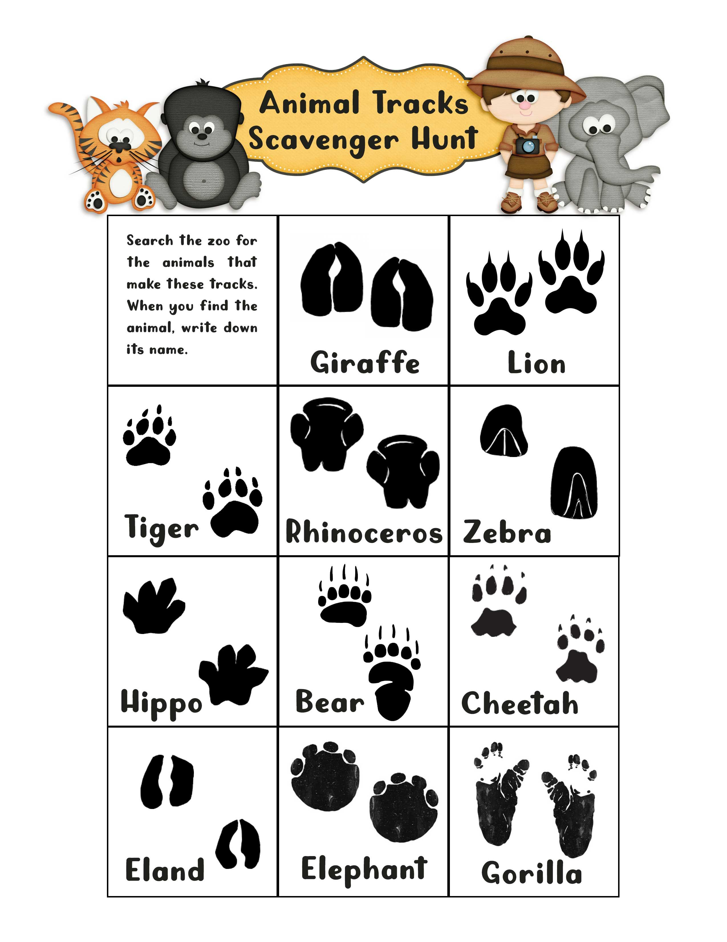 Animal Tracks Scavenger Hunt Created Using Scraps N Pieces