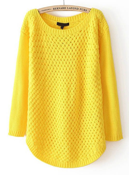Yellow Long Sleeve Hollow Knit Pullover Sweater - Sheinside.com ...