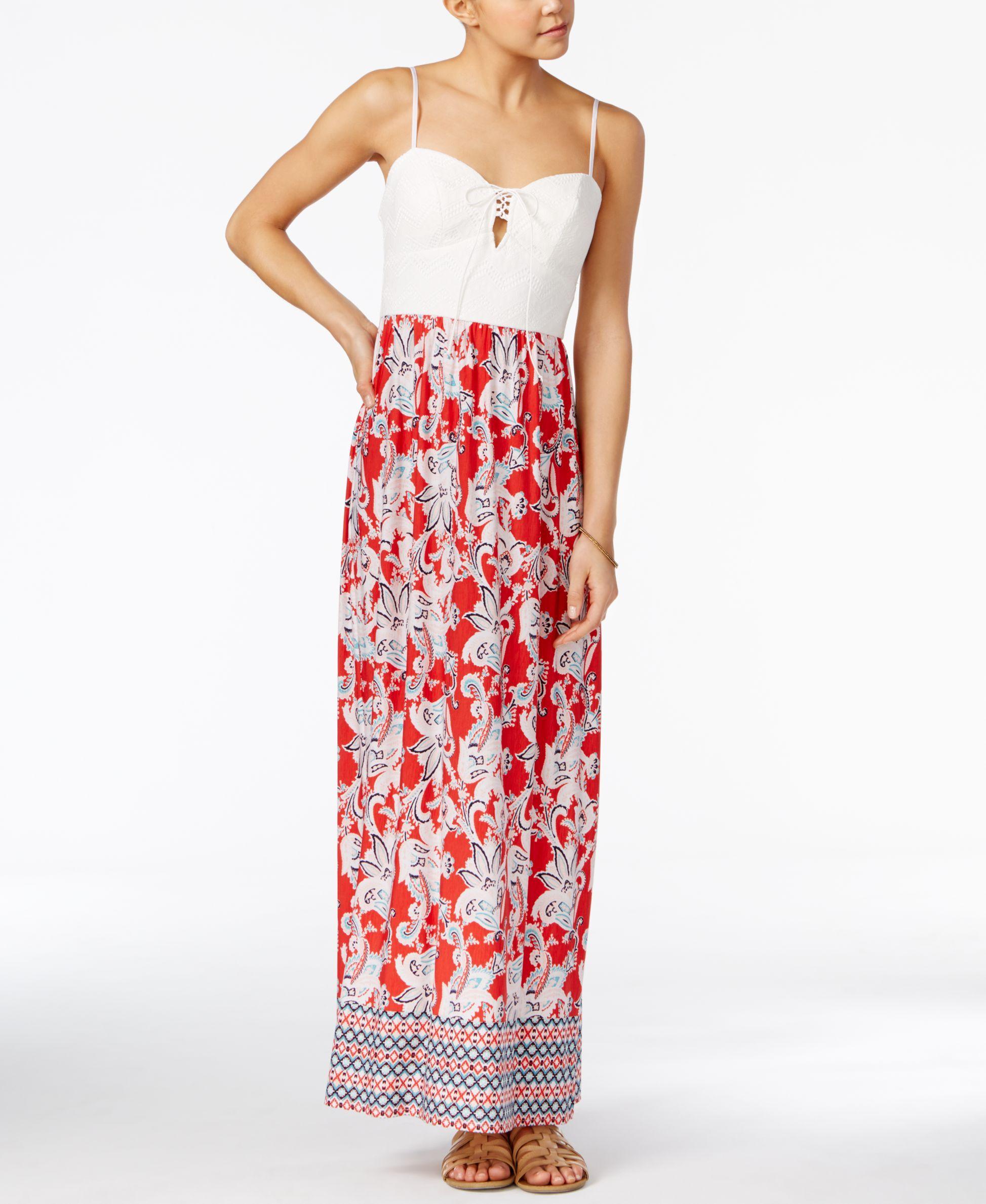 602e89e9e37 Trixxi Juniors  Lace-Up Printed Maxi Dress