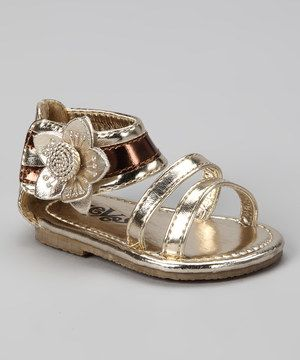 eab78aeb0333 Love this Xeyes Xeyes Gold Ankle Flower Sandal by Xeyes on  zulily!   zulilyfinds