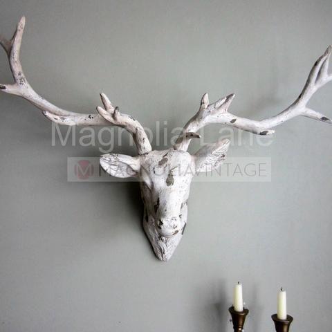 Ivory Cream Stag Head Wall Art Deer Animal Decoration Vintage Chic Magnoliavintage