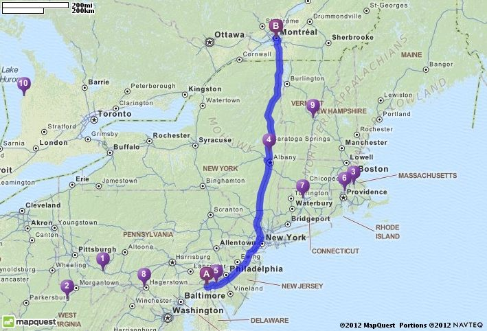 Map Quest Ottawa Canada Driving Directions from Newark, Delaware to Montreal, Canada