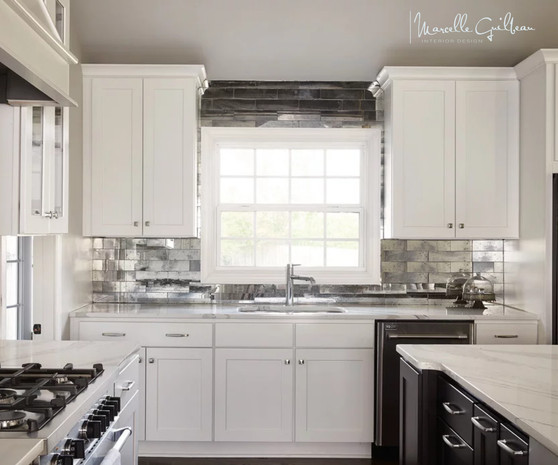 Dazzle Me Backsplash Loved This Contemporary Kitchen Project In Nashville Glass Front Cabinets W In 2020 Glass Front Cabinets Mirror Backsplash Functional Kitchen