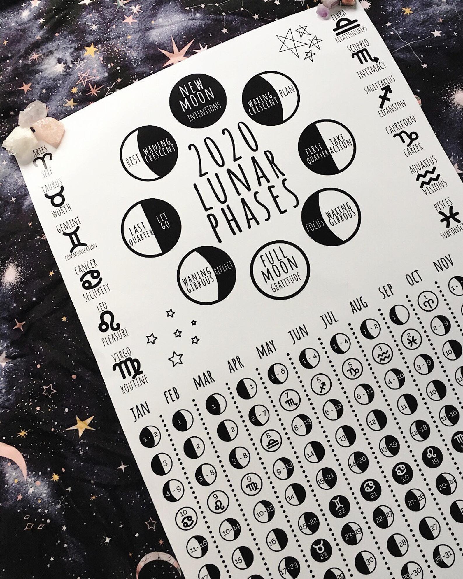 Lunar Calendar Printable Moon Phase Calendar