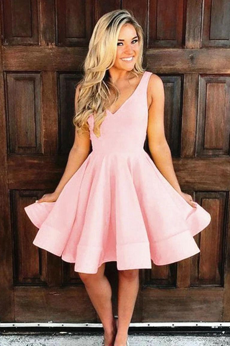 A Line V Neck Short Pink Prom Dresses Short Pink Satin Formal Homecoming Dresses Pink Prom Dresses Short Homecoming Dresses Knee Length Satin Homecoming Dress [ 1152 x 768 Pixel ]