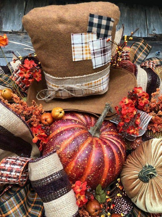 Photo of Herbstkranz, Herbstkranz, Vogelscheuchenkranz, Halloween-Kranz, Sackleinenkranz, P …