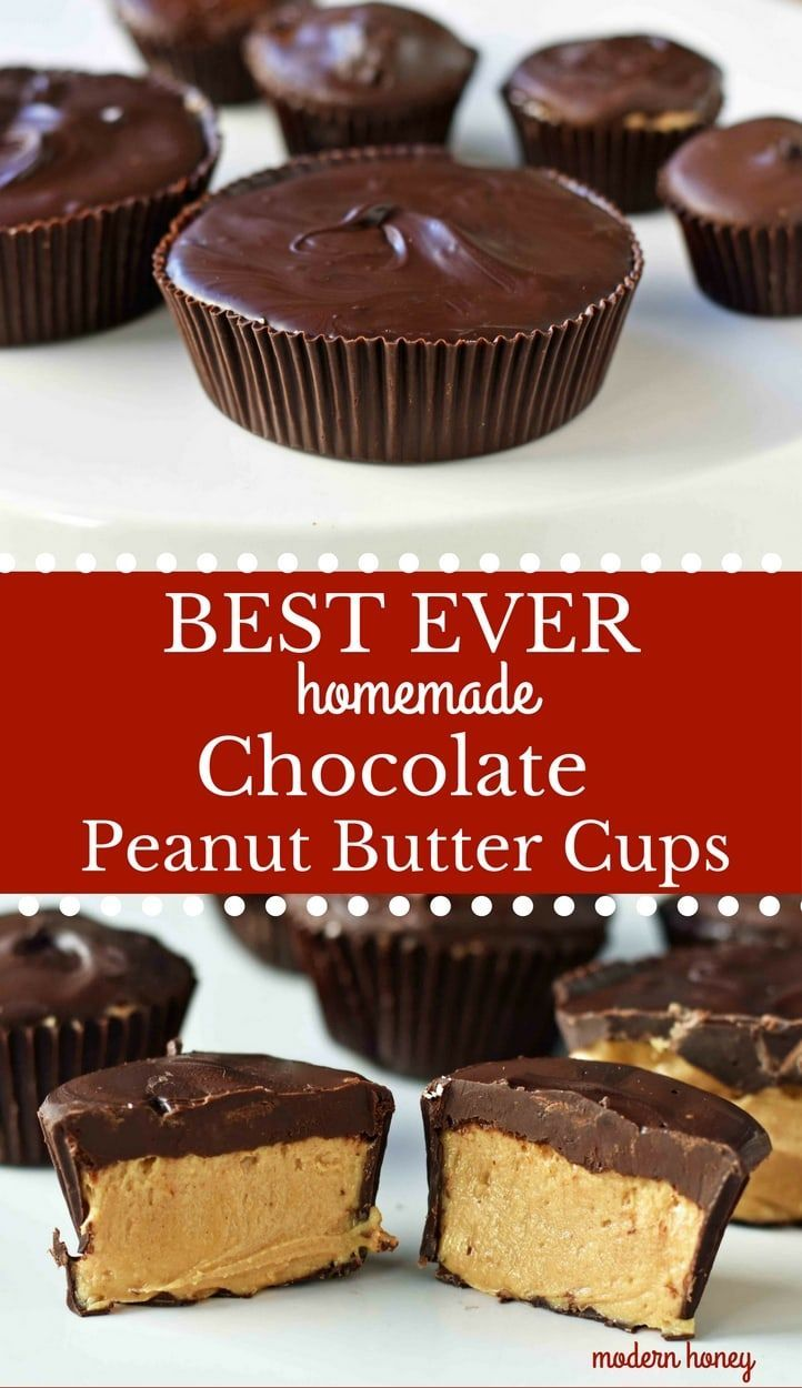 Homemade Chocolate Peanut Butter Cups – Modern Honey #butter #chocolate #homemade #peanut #peanut butter desserts #peanut butter desserts easy #peanut butter desserts keto