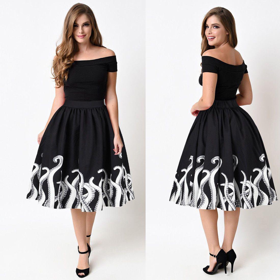 12.55 - Fashion Women s Octopus Squid Fancy Print Pattern Mini Knee Length  Skater Skirt  ebay  Fashion fe284dc5a