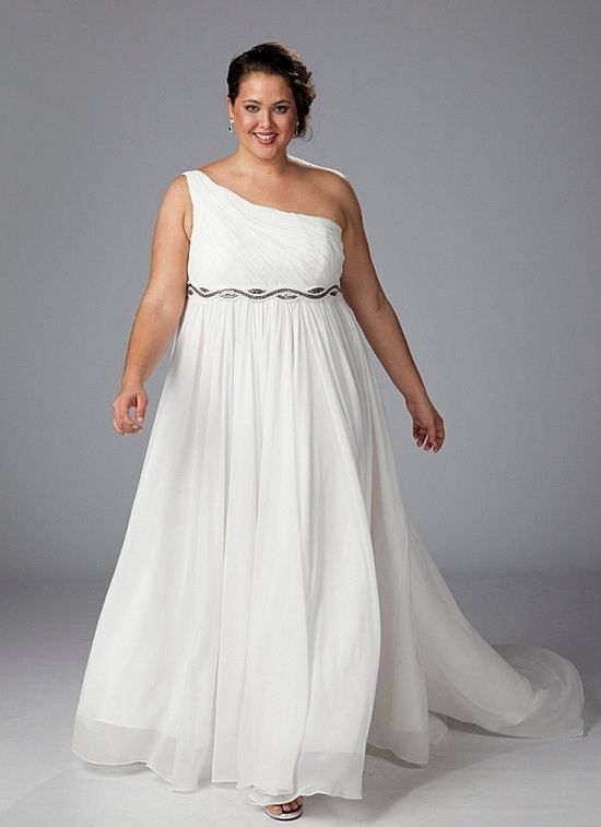 Plus Size Wedding Dress On One Shoulder For Beach Wedding Wedding