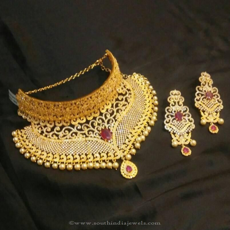 1 Gram Gold Choker From Brundavan Jewellery South India Jewels Gold Fashion Necklace Choker Necklace Designs Necklace Designs