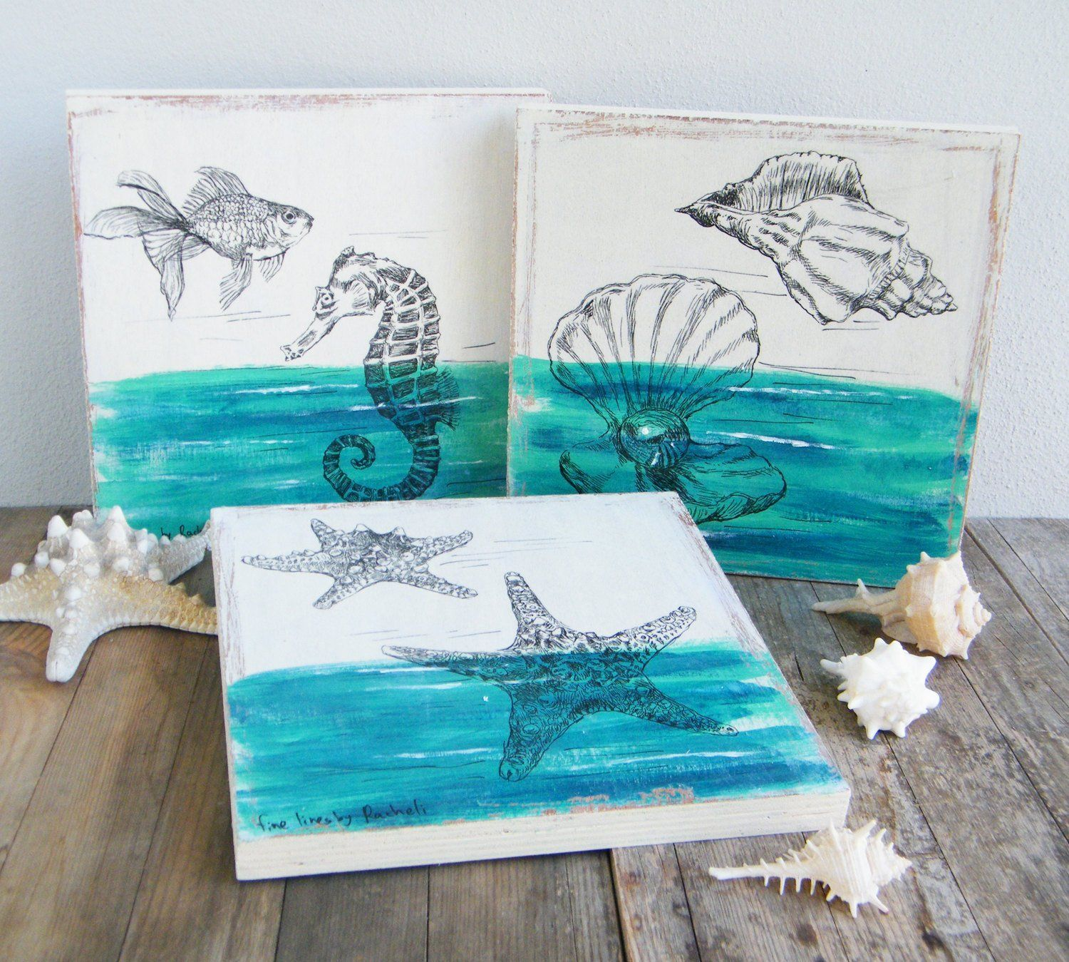 Sea life picture set set of wood signs rustic wall decor