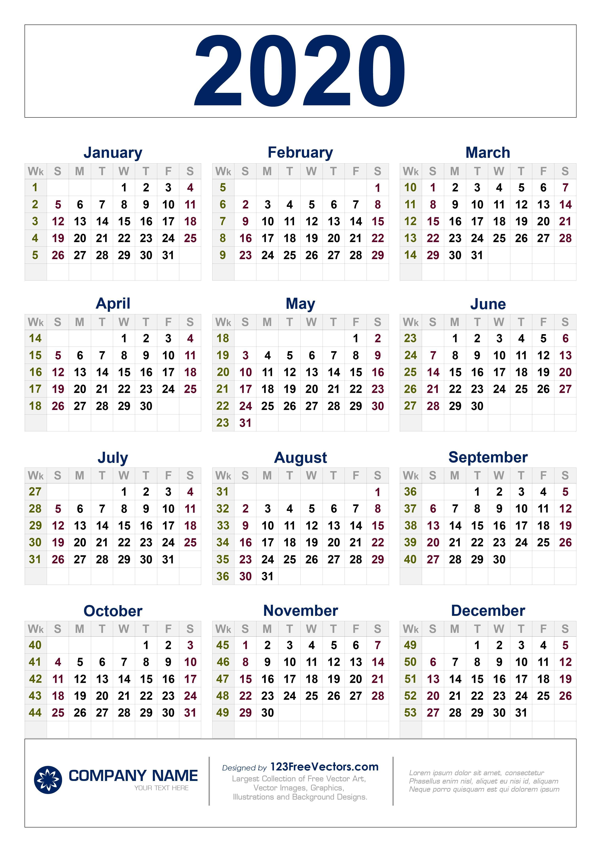 Free Download 2020 Calendar With Week Numbers Calendar