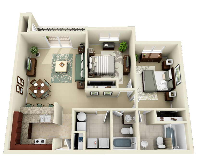 Luxury 1 2 And 3 Bedroom Apartments In Indianapolis In House Floor Plans 1 Bedroom House 3d House Plans