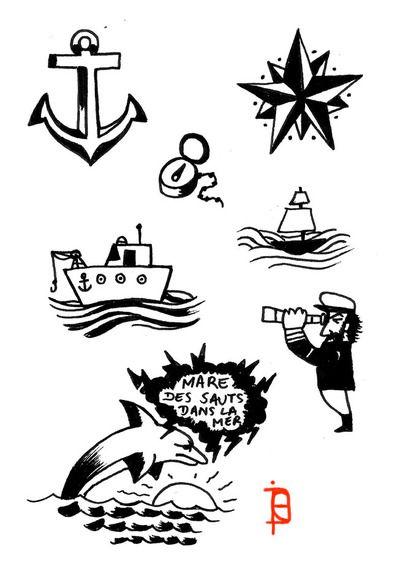 Flashs contacts marin ancre toile bateau ocean mer dauphin tatouage dessin originale dolphins - Dessin ancre bateau ...