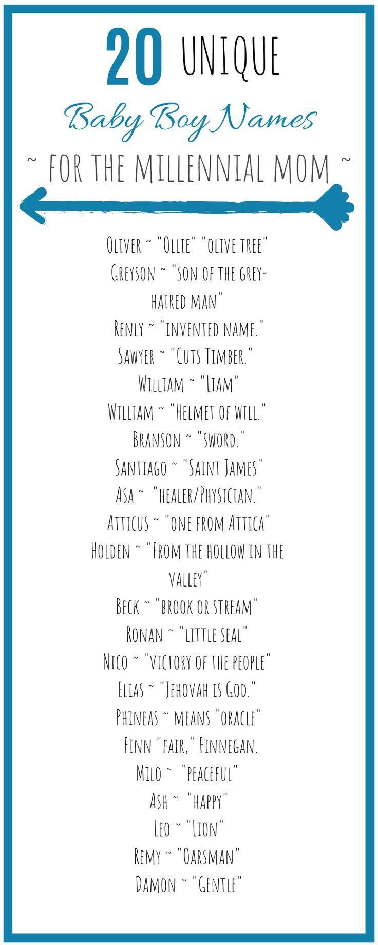 Unique Millennial Baby Boy Names #babynamesboy