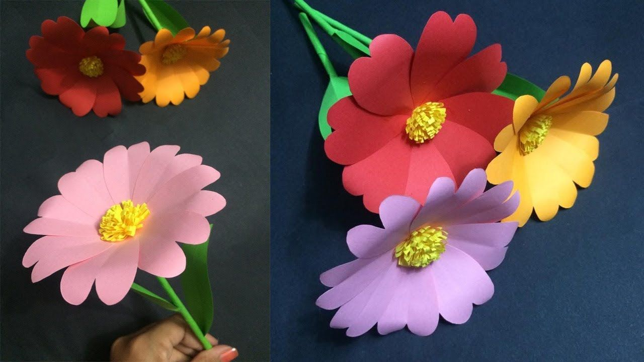How to Make Easy Paper Flower | Making Paper Flowers Step by