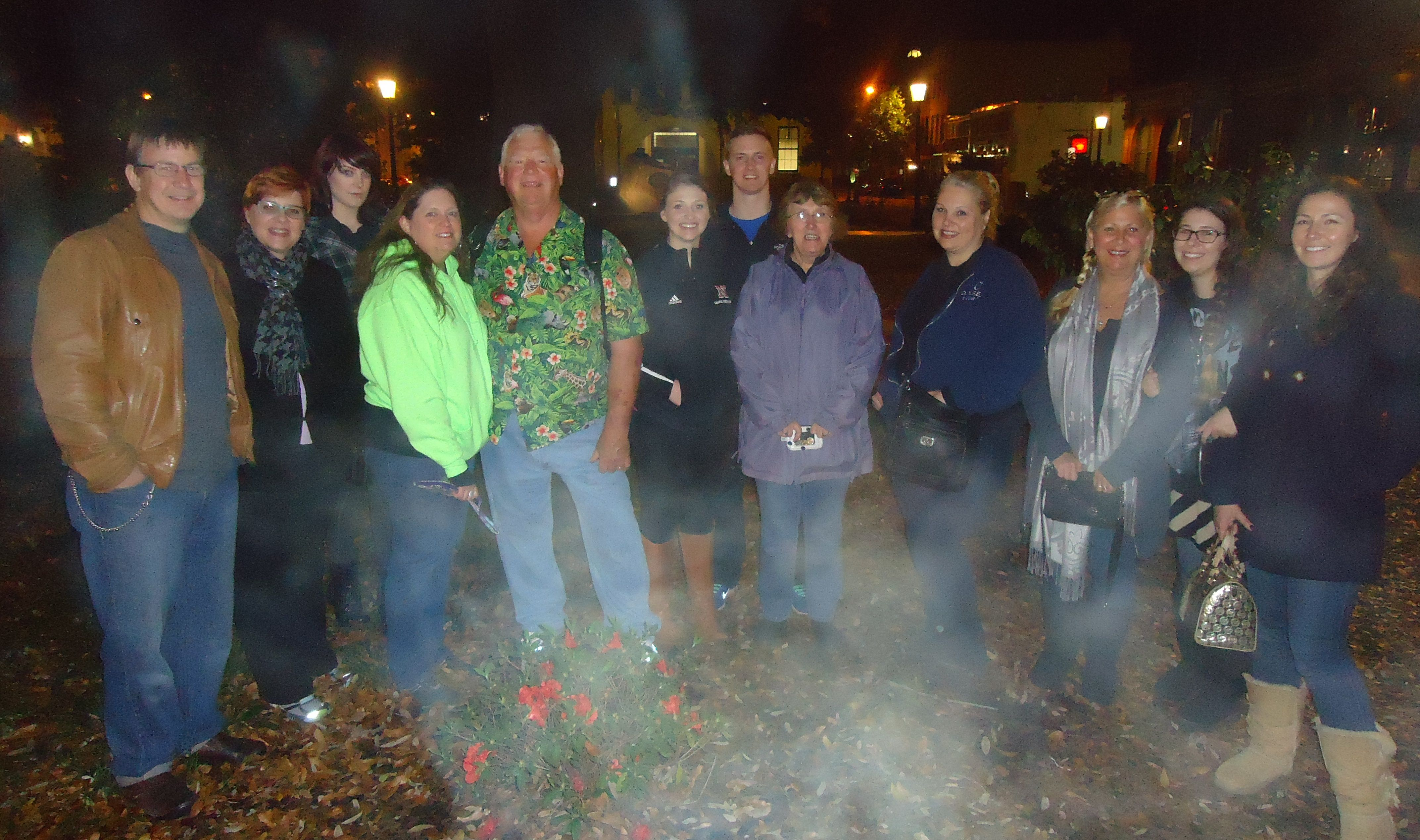 Mysterious conjuration of a ghostly mist in Wright Square.....Aunt Jackie and I with our tour group on the Beyond Good and Evil Tour in Savannah