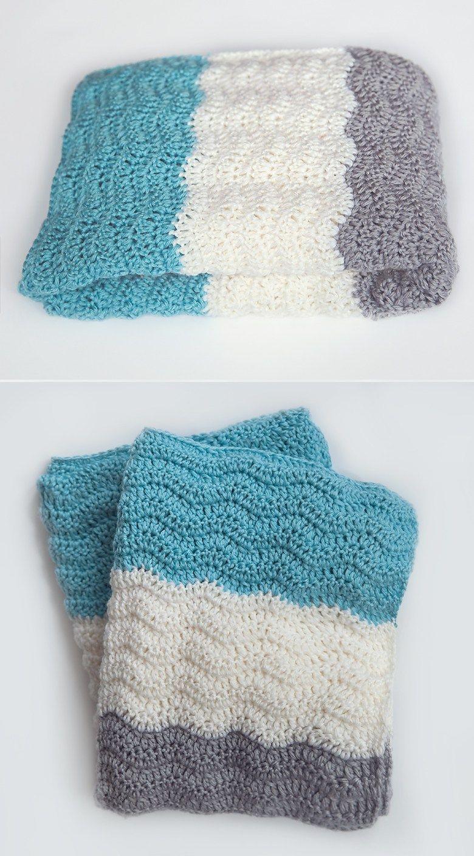 Patrón de ganchillo de bebé de Chevron gratis | mantas bebe crochet ...