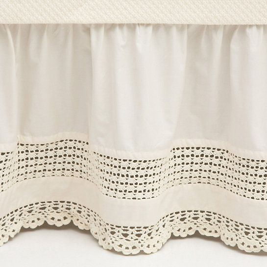 Crochet Edge Ivory Bed Skirt