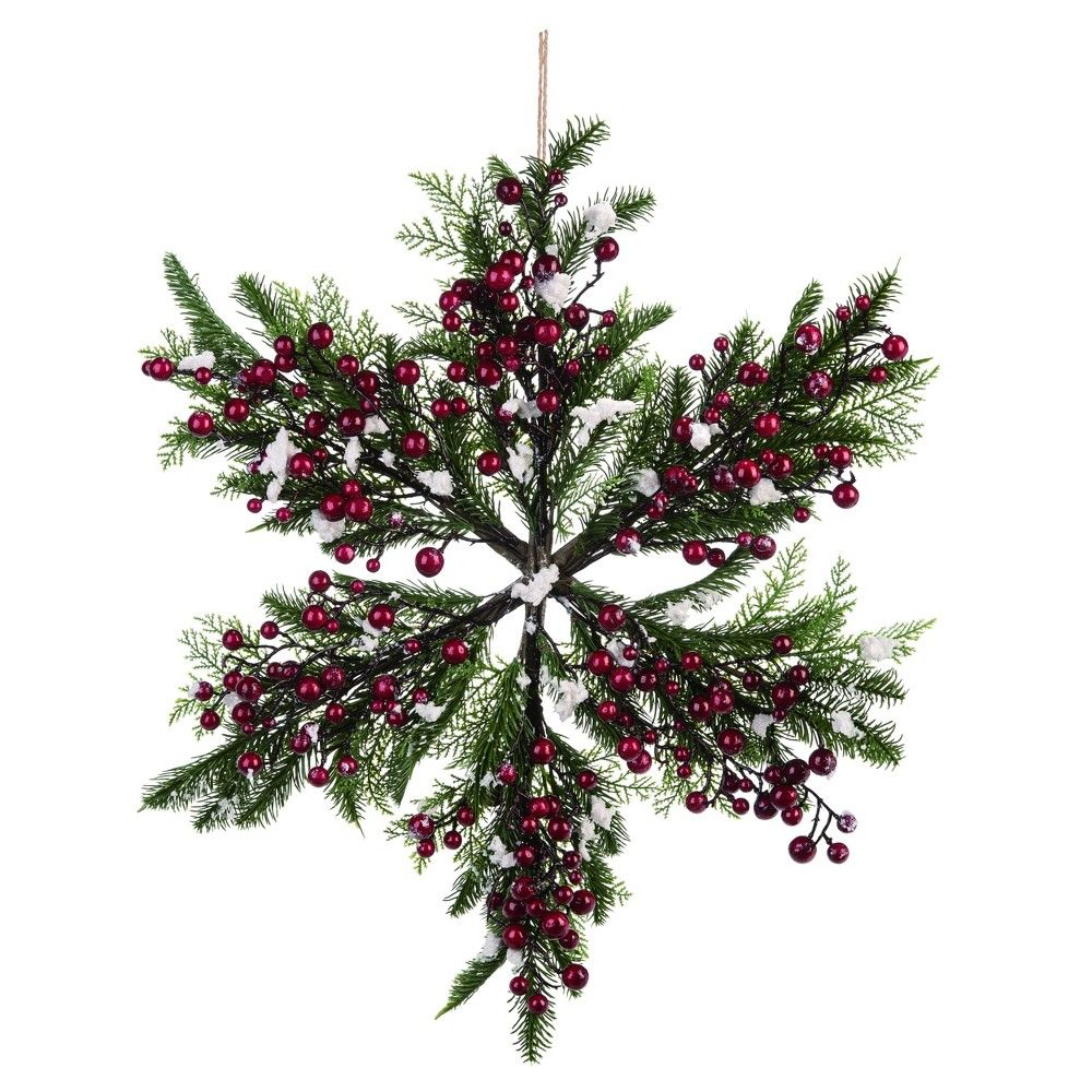 Transpac Artificial 22 In Green Christmas Snowflake Holly Wreath In 2020 Artificial Christmas Wreaths Christmas Wreaths Snowflake Wreath