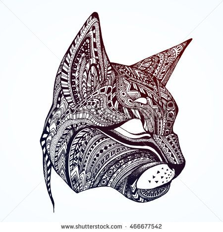 Pattern For Adult Children Coloring Book Page With Ethnic Animal Cat Cute Doodle