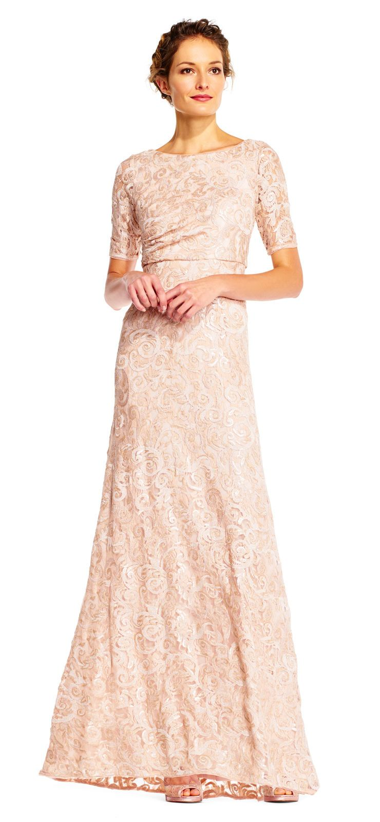 Nice awesome adrianna papell sequin lace mermaid dress with elbow