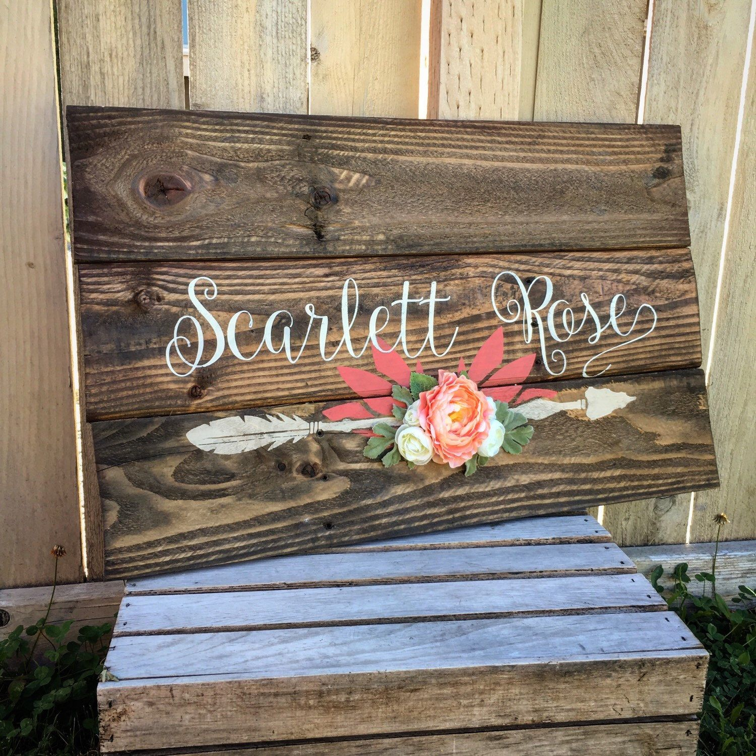 Rustic Large Nursery Name Arrow And Flowers Personalized