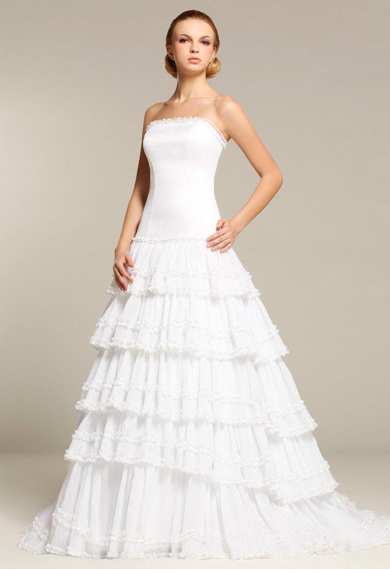 Strapless Ruffled Pleated Organza Ball Gown Train Bridal