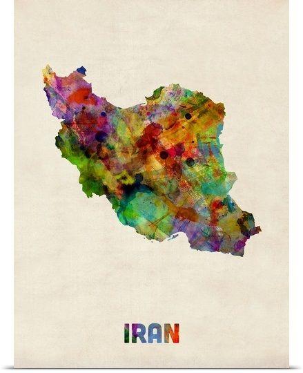 Iran Watercolor Map Watercolor Map Map Art Map Canvas