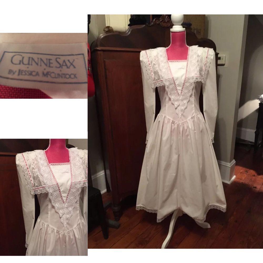 Gunne sax wedding dress  VTG s GUNNE SAX WHITE COTTON LACE Edwardian GARDEN PARTY Wedding